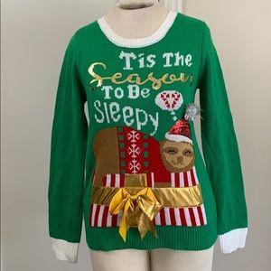 Joe Boxer Sleepy SLOTH ugly Christmas sweater